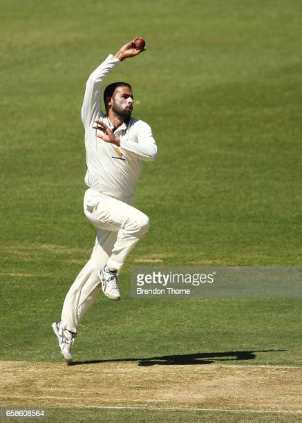Fawad Ahmed of the Bushrangers bowls during the Sheffield Shield final between Victoria and South Australia on March 28 2017 in Alice Springs...