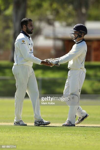 Fawad Ahmed of the Bushrangers celebrates with his team mate Seb Gotch of the Bushrangers after taking the wicket of D'Arcy Short of the Warriors...