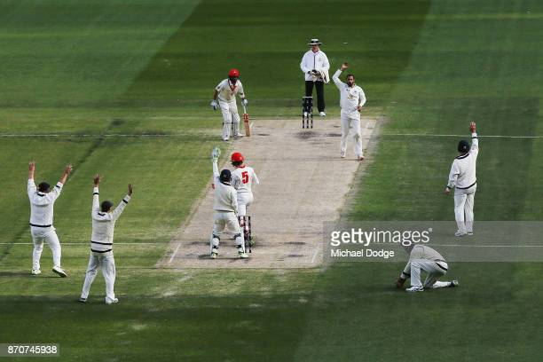 Fawad Ahmed of Victoria appeals unsuccesfully for a wicket during day three of the Sheffield Shield match between Victoria and South Australia at...