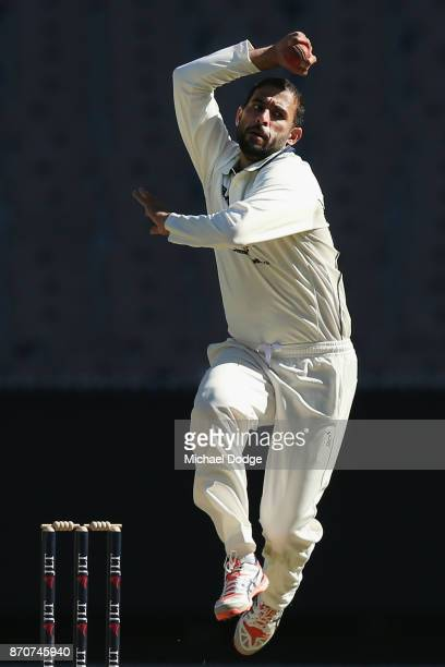 Fawad Ahmed of Victoria bowls during day three of the Sheffield Shield match between Victoria and South Australia at Melbourne Cricket Ground on...