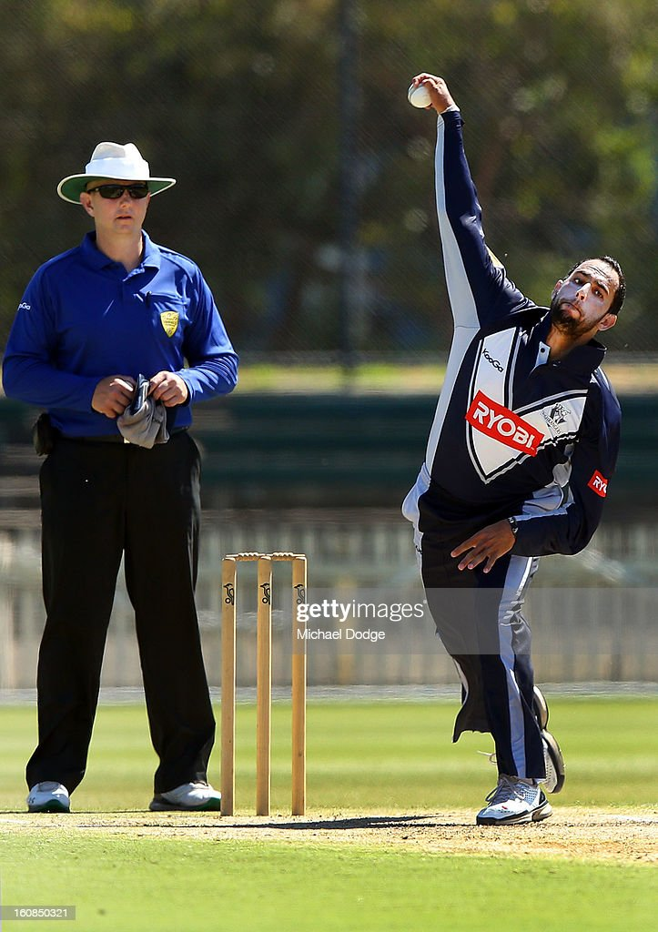 Fawad Ahmed of Victoria bowls during the International tour match between the Victorian 2nd XI and the England Lions at Junction Oval on February 7, 2013 in Melbourne, Australia.