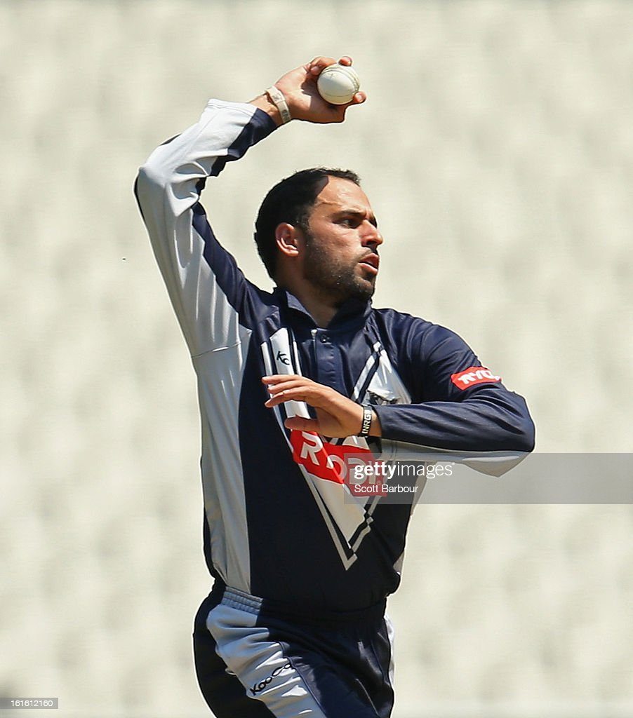 Fawad Ahmed of Victoria bowls during the international tour match between Victoria and the England Lions at the Melbourne Cricket Ground on February 13, 2013 in Melbourne, Australia.