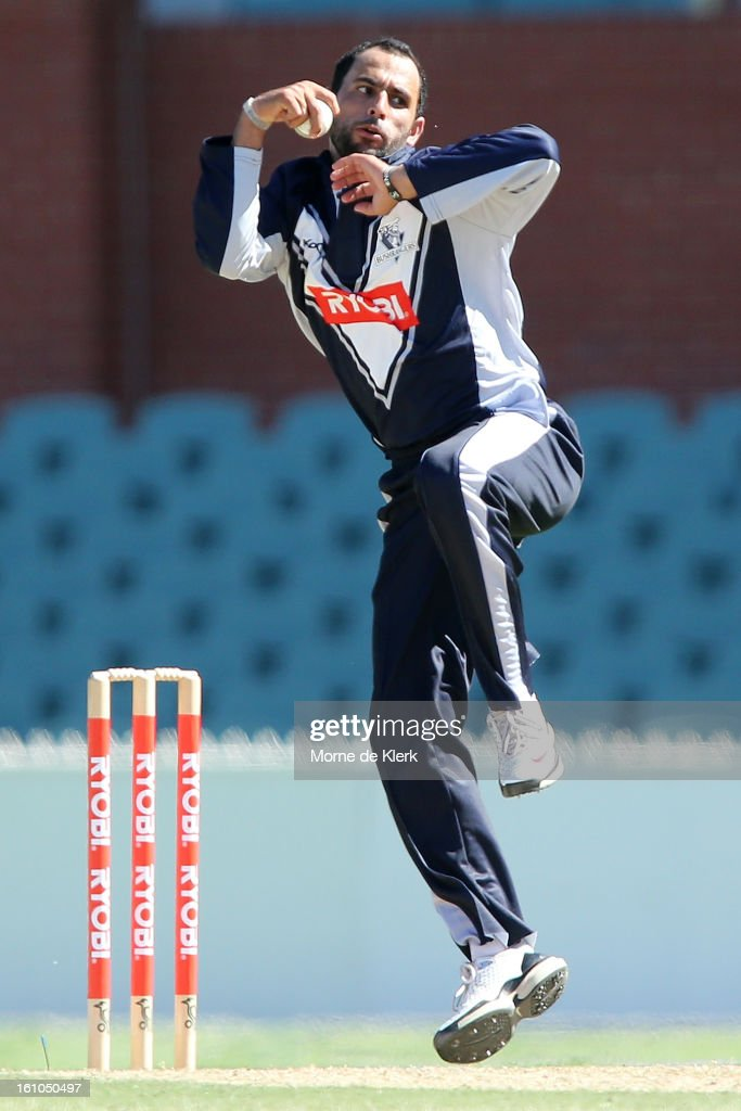 Fawad Ahmed of Victoria bowls during the Ryobi One Cup Day match between the South Australian Redbacks and the Victorian Bushrangers at Adelaide Oval on February 9, 2013 in Adelaide, Australia.