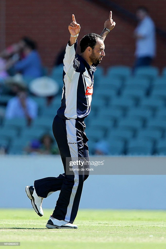 Fawad Ahmed of Victoria celebrates after getting his third wicket for the match during the Ryobi One Cup Day match between the South Australian Redbacks and the Victorian Bushrangers at Adelaide Oval on February 9, 2013 in Adelaide, Australia.