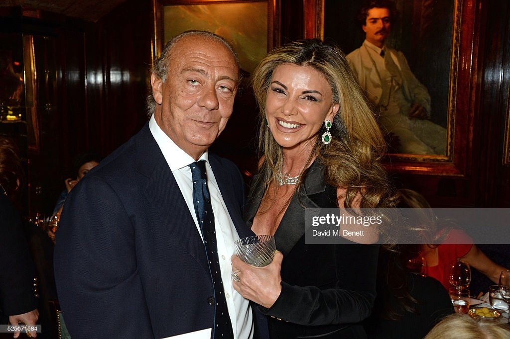 Fawaz Gruosi (L) and Lisa Tchenguiz attend a private dinner hosted by Fawaz Gruosi, founder of de Grisogono, at Annabels on April 28, 2016 in London, England.