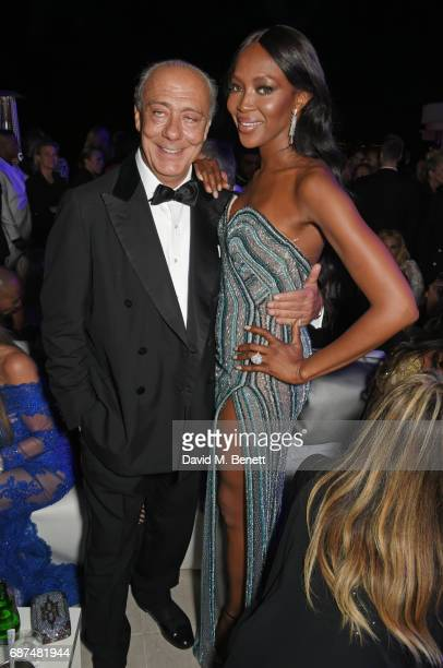 Fawaz Gruosi and Naomi Campbell attend the de Grisogono 'Love On The Rocks' party during the 70th annual Cannes Film Festival at Hotel du CapEdenRoc...