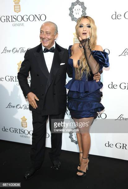 Fawaz Gruosi and Rita Ora attend the De Grisogono 'Love On The Rocks' party during the 70th annual Cannes Film Festival at Hotel du CapEdenRoc on May...
