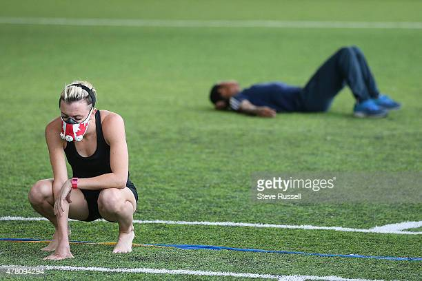 Fawn Dorr trains with a mask to simulate altitude training The group removed from their usual training facility at York University as it undergoes a...