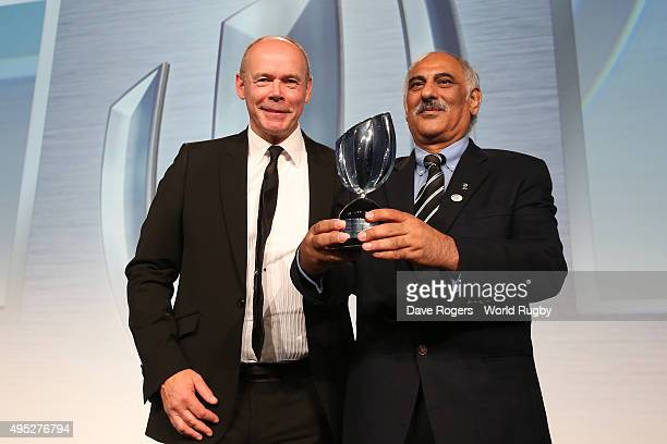 Fawzi Khawaja of the Pakistan Rugby Union receives the Award for Character from Sir Clive Woodward during the World Rugby Awards 2015 at Battersea...