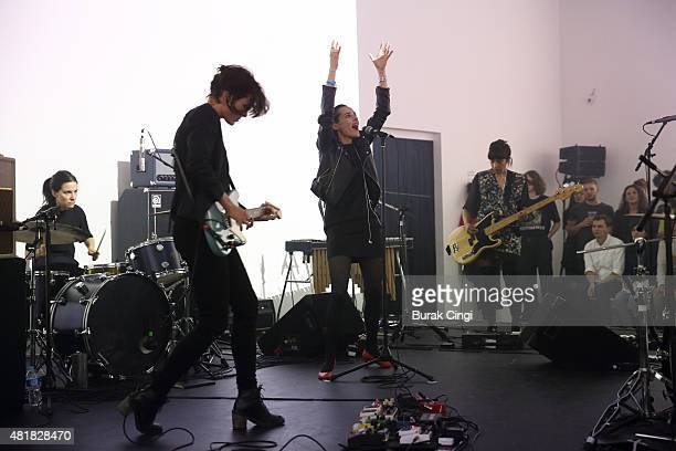 Fay Milton Gemma Thompson Jehnny Beth and Ayse Hassan of Savages perform live on stage as part of Station to Station at Barbican Centre on July 24...
