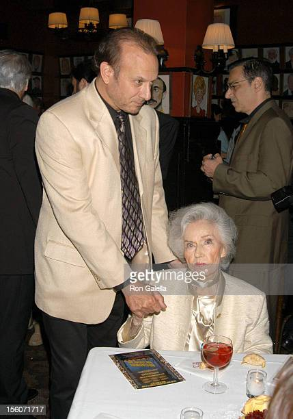 Fay Wray and guest during After Party For The Benefit Premiere of 'Broadway The Golden Age' at Sardi's Restaurant in New York City New York United...