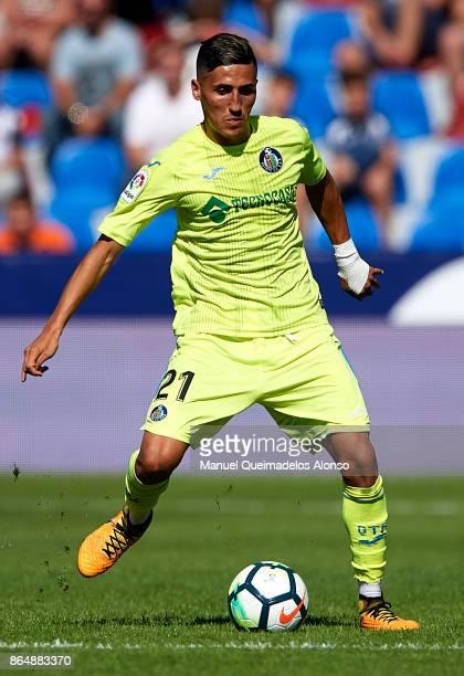 Fayal Fajr of Getafe in action during the La Liga match between Levante and Getafe at Ciutat de Valencia Stadium on October 21 2017 in Valencia Spain