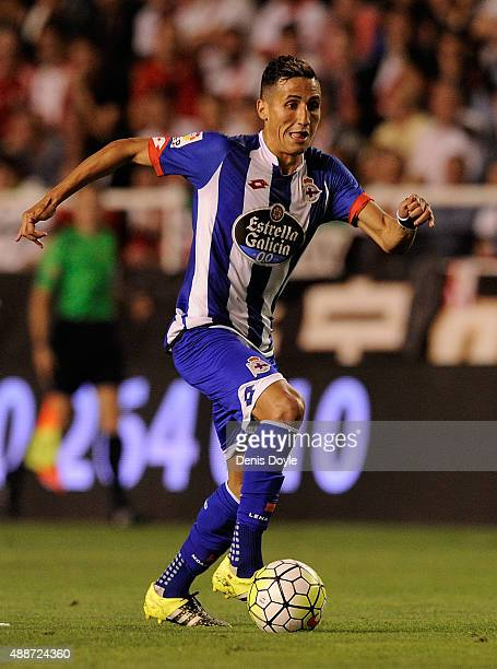 Faycal Fajr of RC Deportivo la Coruna in action during the La Liga match between Rayo Vallecano and RC Deportivo La Coruna at Estadio Teresa Rivero...