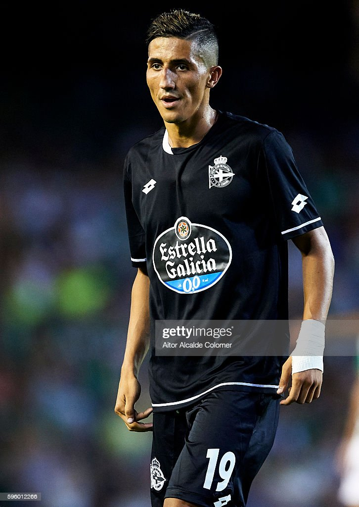 Faycal Fajr of RC Deportivo La Coruna looks on during the match between Real Betis Balompie v RC Deportivo La Coruna as part of La Liga at Estadio...