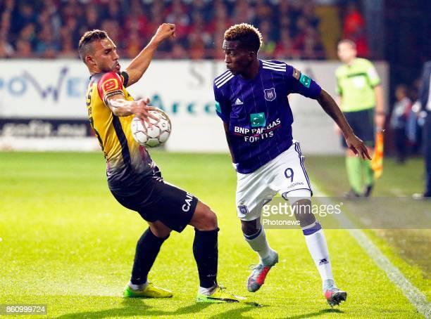 Faycal Rherras defender of KV Mechelen and Henry Onyekuru forward of RSC Anderlecht pictured during the Jupiler Pro League match between Kv Mechelen...