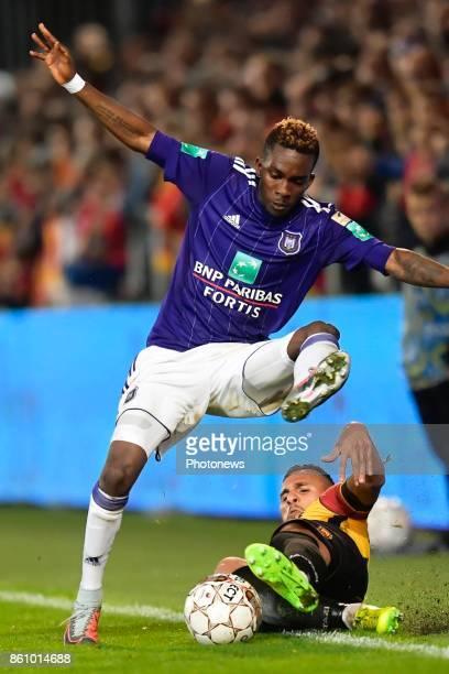 Faycal Rherras defender of KV Mechelen battles for the ball with Henry Onyekuru forward of RSC Anderlecht during the Jupiler Pro League match between...