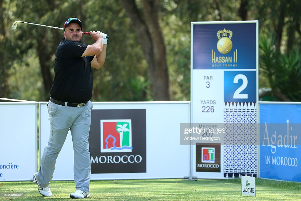 Faycal Serghini of Morocco hits his tee shot on the 2nd during the first round of the Trophee Hassan II at Royal Golf Dar Es Salam on May 5, 2016 in Rabat, Morocco.