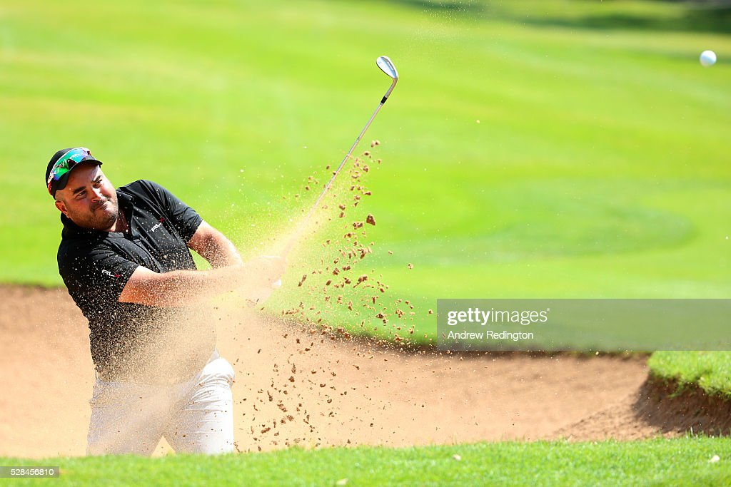 Faycal Serghini of Morocco plays a bunker shot on the 2nd during the first round of the Trophee Hassan II at Royal Golf Dar Es Salam on May 5, 2016 in Rabat, Morocco.