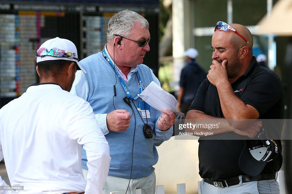 Faycal Serghini of Morocco speaks with Andy McPhee, chief referee of the European Tour after the first round of the Trophee Hassan II at Royal Golf Dar Es Salam on May 5, 2016 in Rabat, Morocco.
