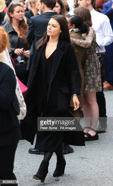Faye Brookes who plays Kate Connor in Coronation Street leaves the funeral service of Martyn Hett who was killed in the Manchester Arena bombing at...