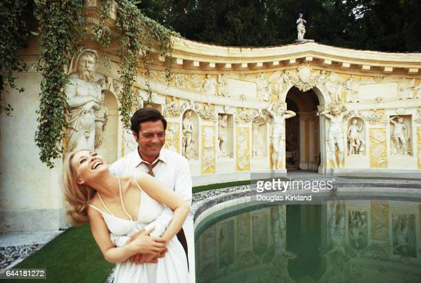 Faye Dunaway and Marcello Mastroianni at the Villa Barbaro during the filming of the 1968 movie A Place for Lovers