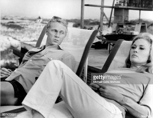 Faye Dunaway and Steve McQueen relax in a scene from the movie 'The Thomas Crown Affair' circa 1968
