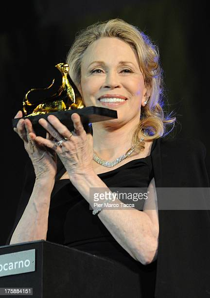 Faye Dunaway receives the Leopard Club Award during the 66th Locarno Film Festival red carpet on August 9 2013 in Locarno Switzerland
