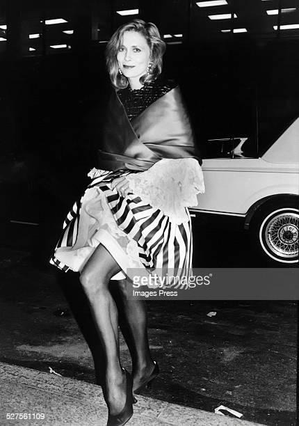 Faye Dunaway wearing a Christian Lacroix couture dress circa 1981 in New York City