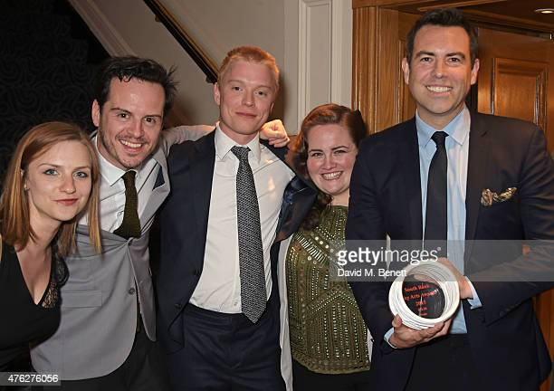 Faye Marsay Andrew Scott Freddie Fox Jessica Gunning and writer Stephen Beresford accept the Film award for 'Pride' at the South Bank Sky Arts awards...