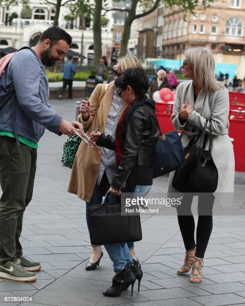 Faye Tozer Claire Richards and Lisa ScottLee from Steps seen leaving the Global Radio Studios on April 25 2017 in London England