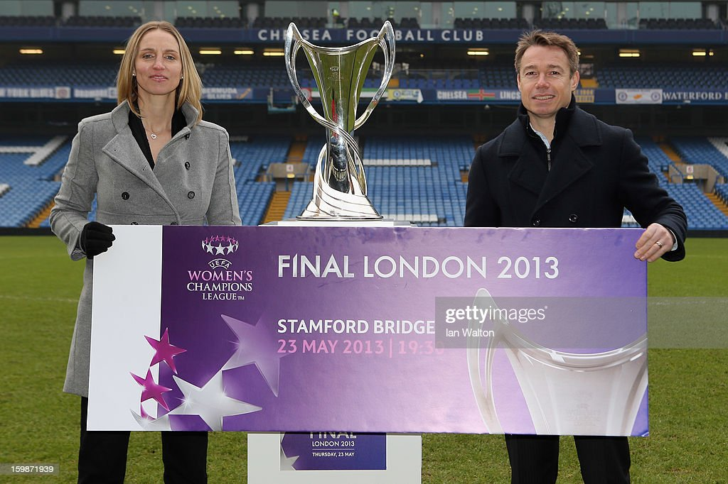 Faye White and Graeme le Saux pose during the ticket launch for the UEFA Women's Champions League Final at Stamford Bridge on January 22, 2013 in London, England.