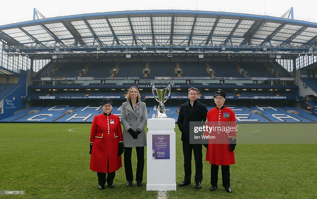 Faye White and Graeme le Saux pose with Chelsea Pensioners during the ticket launch for the UEFA Women's Champions League Final at Stamford Bridge on January 22, 2013 in London, England.