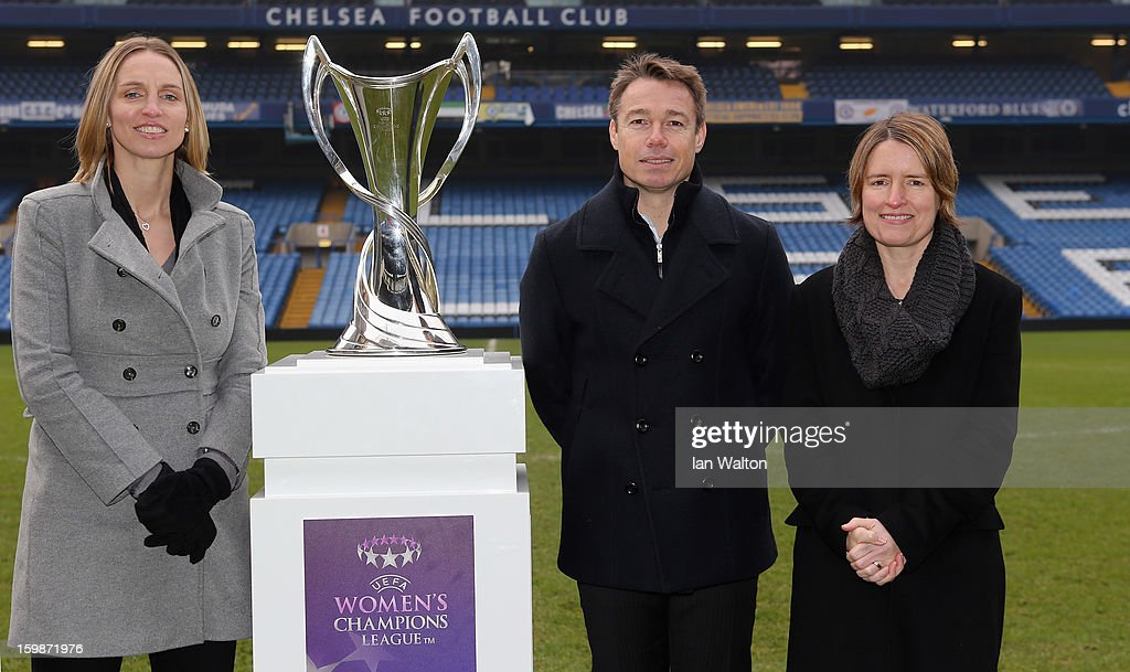 <a gi-track='captionPersonalityLinkClicked' href=/galleries/search?phrase=Faye+White&family=editorial&specificpeople=171388 ng-click='$event.stopPropagation()'>Faye White</a> and Graeme le Saux with Kelly Simmons, Director of The National Game and Women's Football, The Football Association pose during the ticket launch for the UEFA Women's Champions League Final at Stamford Bridge on January 22, 2013 in London, England.