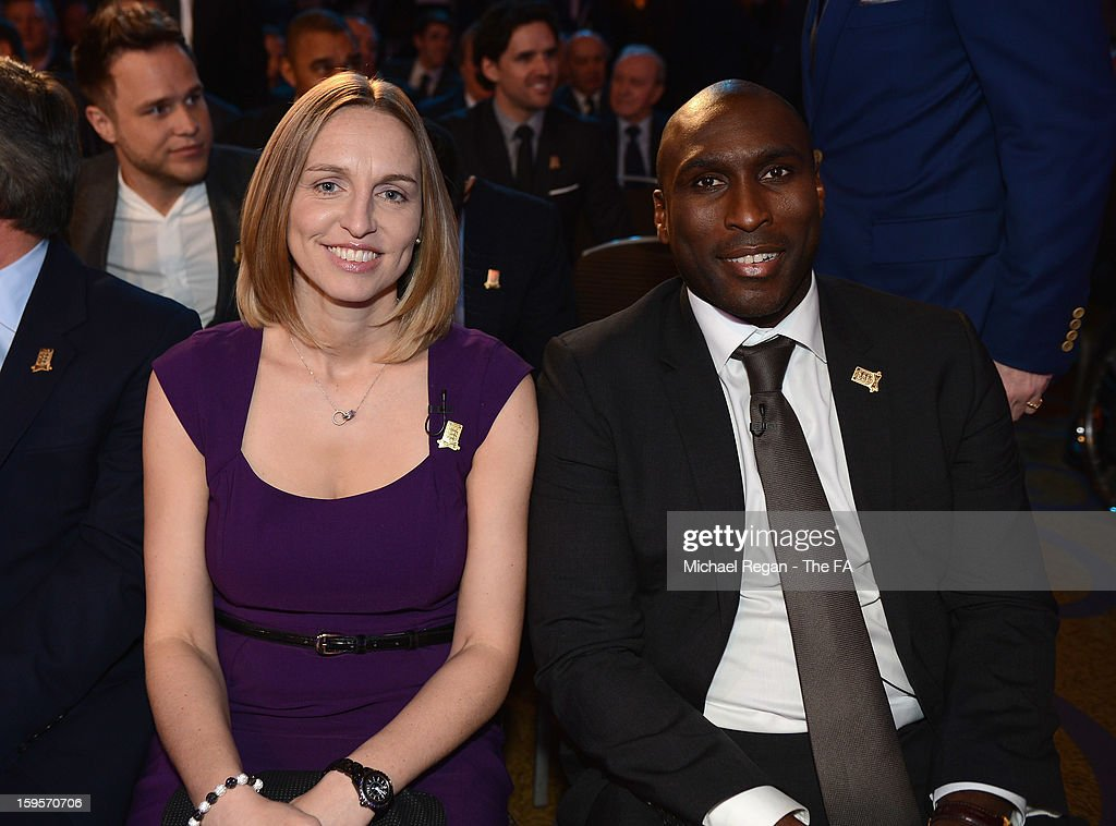 Faye White and Sol Campbell attend the official launch to mark the FA's 150th Anniversary Year at the Grand Connaught Rooms on January 16, 2013 in London, England.