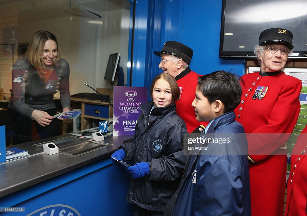Faye White chats with children and Chelsea Pensioners during the ticket launch UEFA Women's Champions League Final at Stamford Bridge on January 22, 2013 in London, England.