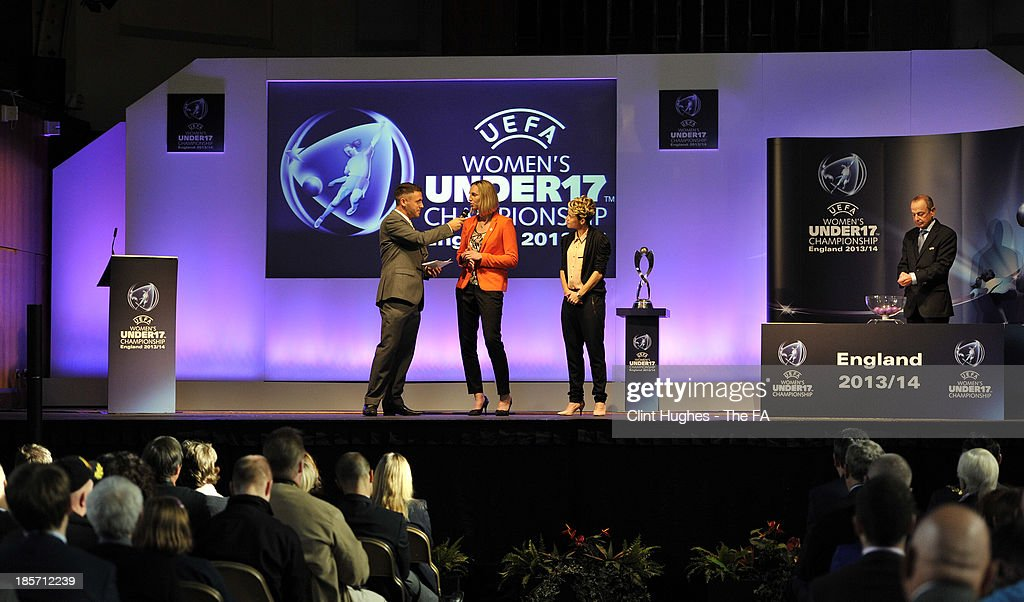 <a gi-track='captionPersonalityLinkClicked' href=/galleries/search?phrase=Faye+White&family=editorial&specificpeople=171388 ng-click='$event.stopPropagation()'>Faye White</a> (2nd L) is interviewed on the stage by Mark O'Sullivan (L) from Touch FM Radio during the UEFA European Women's Under 17 Championship Draw at Burton Town Hall on October 24, 2013 in Burton upon Trent, England