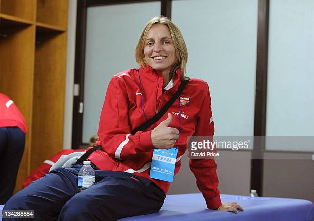 Faye White of Arsenal Ladies FC poses in the changing room before the friendly game against INAC Kobe at the Nishigaoka Stadium on November 30 2011...