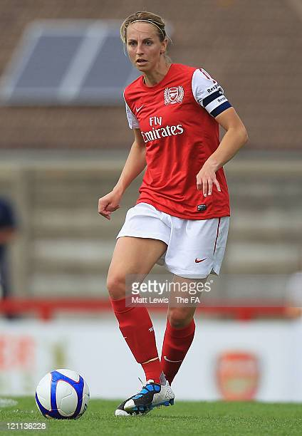 Faye White of Arsenal Ladies in action during the FA WSL match between Arsenal Ladies FC and Doncaster Rovers Belles Ladies FC at Meadow Park on...