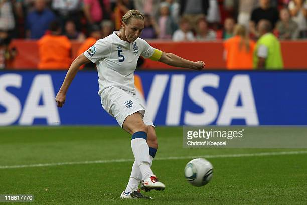 Faye White of England does'nt score the ddecision penalty during the penalty shootout during the FIFA Women's World Cup 2011 Quarter Final match...