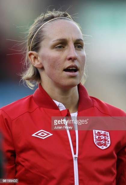 Faye White of England looks on before the Women's World Cup Qualifier match between England and Spain at the New Den on April 1 2010 in London England