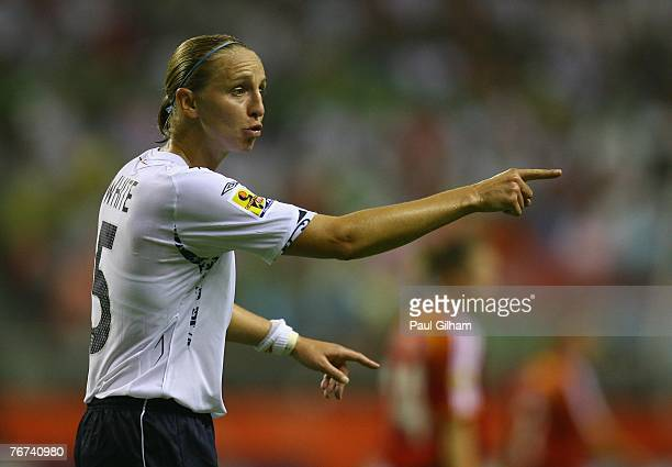 Faye White of England shouts out to her teammates during the Group A Womens World Cup 2007 match between England and Germany at Shanghai Hongkou...