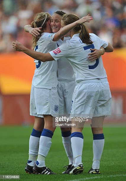 Faye White Rachel Unitt and captain Casey Stoney of England celebrate at the end of the FIFA Women's World Cup 2011 group B match between England and...