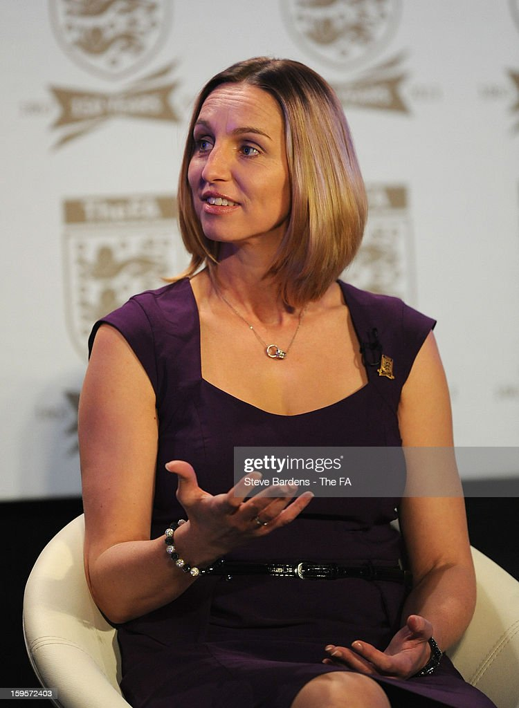 Faye White talks on stage during the official launch to mark the FA's 150th Anniversary Year at the Grand Connaught Rooms on January 16, 2013 in London, England.