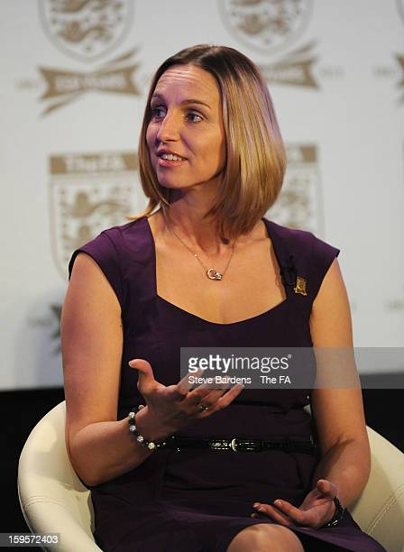 Faye White talks on stage during the official launch to mark the FA's 150th Anniversary Year at the Grand Connaught Rooms on January 16 2013 in...