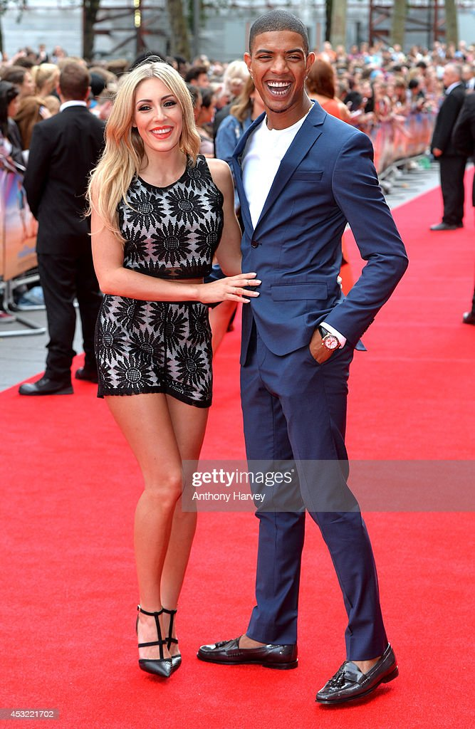 Fazer (L) and Ashley-Emma Havelin attend the World Premiere of 'The Inbetweeners 2' at Vue West End on August 5, 2014 in London, England.