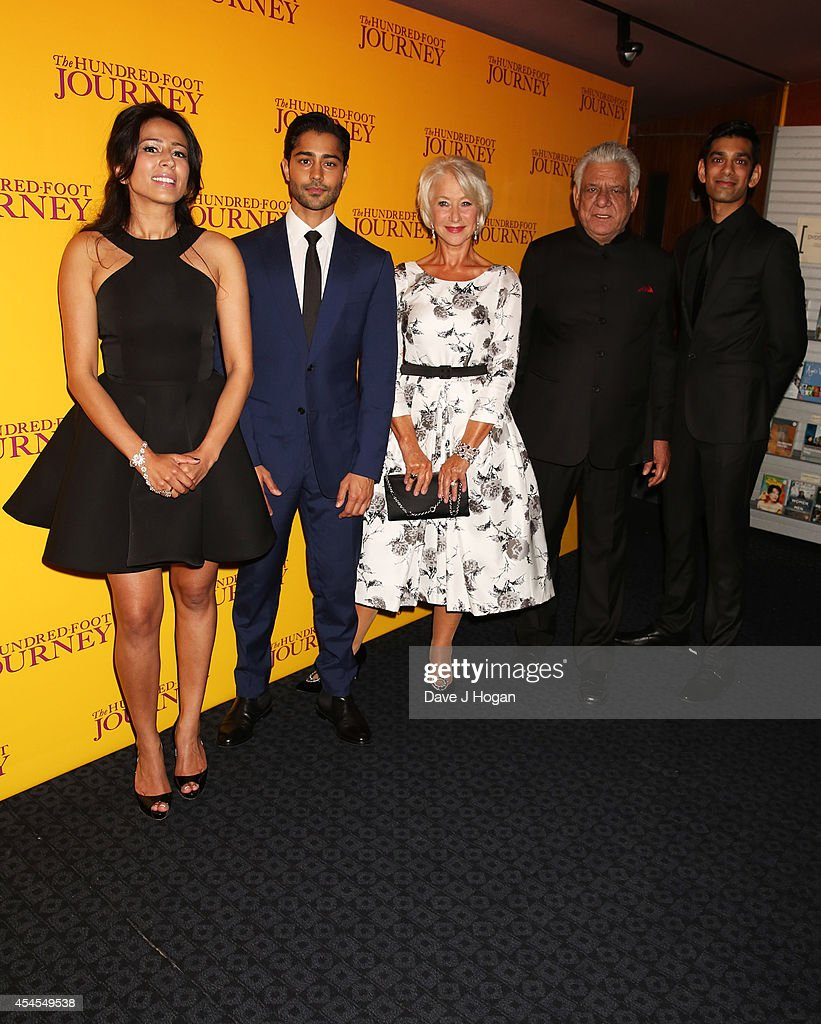 Fazzana Dua Elahe, Manish Dyal, Dame <a gi-track='captionPersonalityLinkClicked' href=/galleries/search?phrase=Helen+Mirren&family=editorial&specificpeople=201576 ng-click='$event.stopPropagation()'>Helen Mirren</a>, <a gi-track='captionPersonalityLinkClicked' href=/galleries/search?phrase=Om+Puri&family=editorial&specificpeople=1651238 ng-click='$event.stopPropagation()'>Om Puri</a> and <a gi-track='captionPersonalityLinkClicked' href=/galleries/search?phrase=Amit+Shah+-+Actor&family=editorial&specificpeople=13544621 ng-click='$event.stopPropagation()'>Amit Shah</a> attend the UK gala screening of 'The Hundred Foot Journey' at The Curzon Mayfair on September 3, 2014 in London, England.