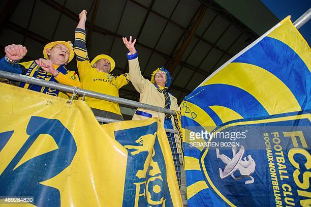 Fc Sochaux' supporters cheer their team during the French L2 football match Sochaux vs Creteil on April 10 2015 at the Auguste Bonal stadium in...