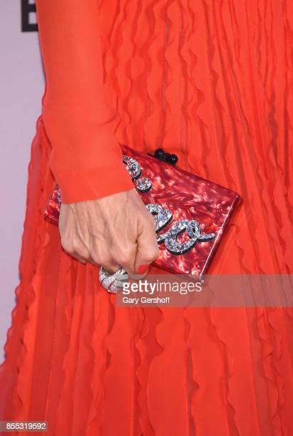 Fe Fendi clutch detail attends the New York City Ballet's 2017 Fall Fashion gala at David H Koch Theater at Lincoln Center on September 28 2017 in...