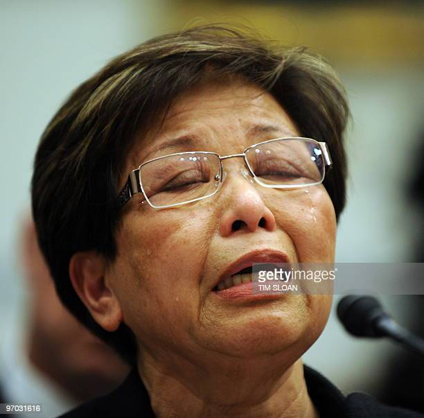Fe Niosco Lastrella who lost four members of her family in an accident involving a runaway Toyota vehicle testifies before the House Oversight and...