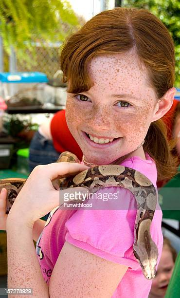 Fearless Redhead Freckle Face Girl & Reptile, Adventurous Child Holding Snake
